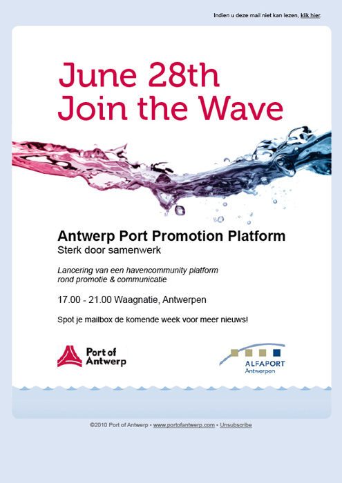 email campagne Port of Antwerp promotie & communicatie © BizBis